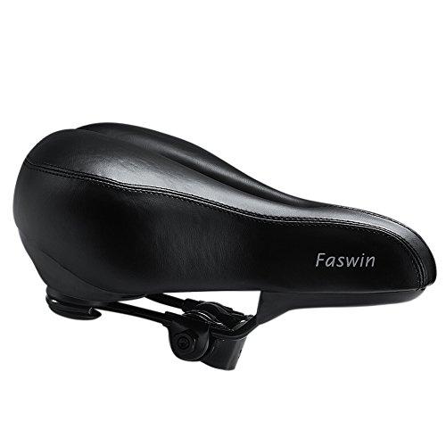 Faswin Comfortable Bicycle Suspension Saddle Bike Seat Gel Saddle, Black