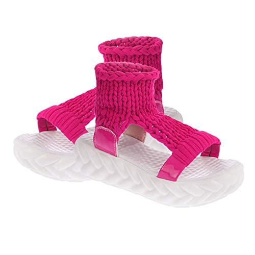 Casuale Estate Eleganti Scarpe Rossa Moda Donna Huatime Sandalo Sandals Spesso Knit Open Cloth Cavo Fondo Toe Ciabatte Platform Sandali Rosa Zeppa Ragazze xTn114