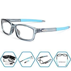 Bertha Sports Glasses Optical Protection Basketball Eyeglasses Frame Business Presription Eyewear 004 (Transparent Blue)