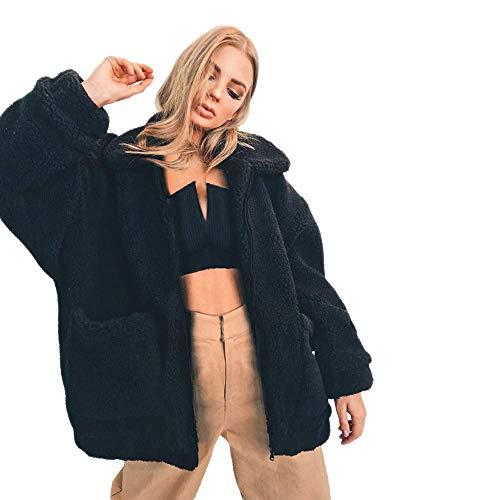Outwear Winter Invierno Abrigo Para Boyfriend Las Negro Faux Chaqueta Shearling Casual Manga Mujeres Larga Moda Solapa Parka Mujer De Cardigan pWcWf