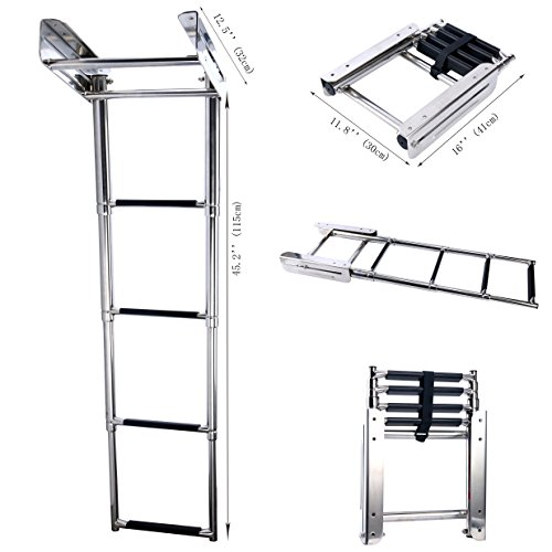 Amarine-made 4-step Stainless Steel Under Platform Slide Mount Boat Boarding Telescoping Ladder - FBA (A)