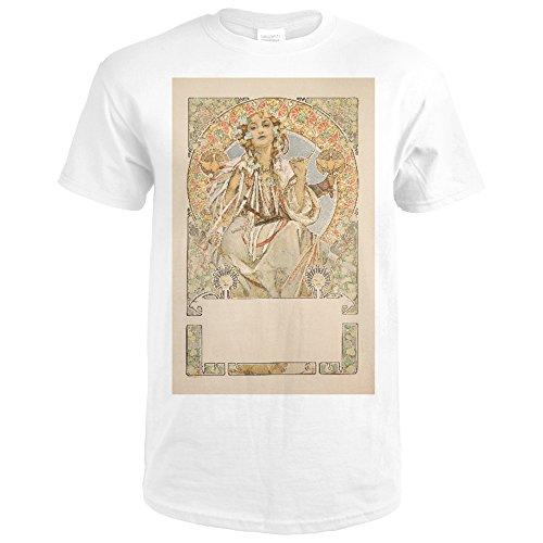 Slavia  Before Letters  Vintage Poster  Artist  Mucha  Alphonse  France C  1907  Premium White T Shirt Xx Large