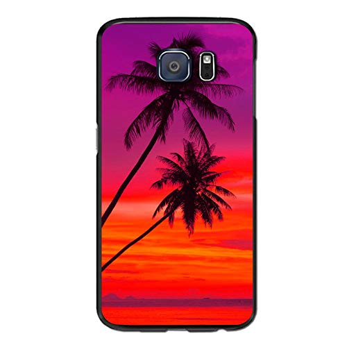 Evolution Door Set - SRuhqu Pink Orange Palm Tree Sunset Slim Fit Soft Anti-Scratch Shockproof Battery Door Replacement Back Cover Phone Case For S7 Edge