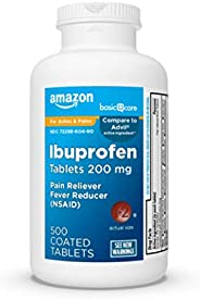 Amazon Basic Care Ibuprofen Tablets 200 mg, Pain Reliever/Fever Reducer (NSAID), 500 Count