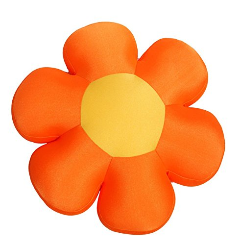 "DaDa Bedding Fun Cute All Year Round Super Squishy & Soft Flower Decorative Throw Micro-Bead Cushion Pillow - Bright Vibrant Multi Colorful Floral Shape Print - Orange - 18"""