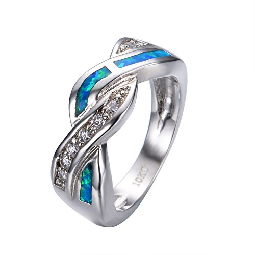 Rongxing Jewelry Opal Ring Ocean Blue Size 6-10 Band Womens White Gold Filled Engagement