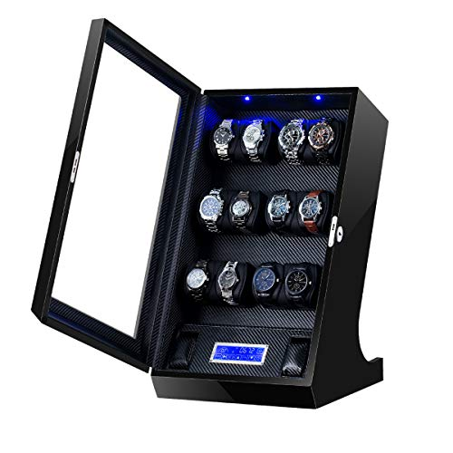 TEEMING Automatic Watch Winder Storage Box with LCD Touch Screen (TG-04TS-BB-BP) from TEEMING