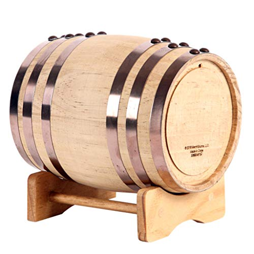 Oak Barrel Wood Wine Dispenser Built-in Aluminum Foil Liner with Wood Stand for Storing Your own Whiskey, Beer, Wine, Bourbon, Brandy, Hot Sauce & More 5 Liters by Woode (Image #2)