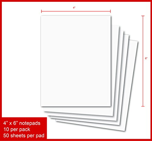 Blank Notepads - Pack of 10 Memo Pads 4 x 6 Inches, 50 Sheets Per Pad - Top Quality Scratch Pads (4 x 6-10 ()