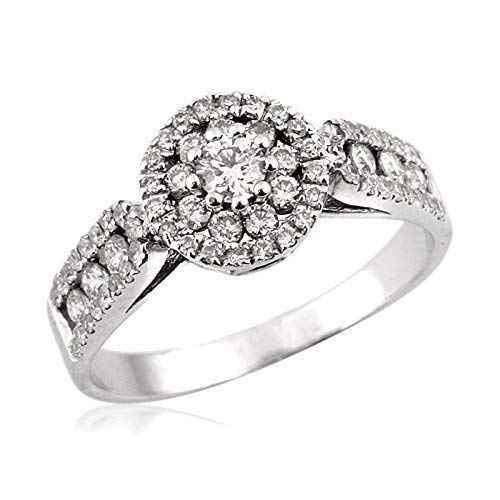 Handmade Vintage Style .65ct Diamond 14k White Gold Engagement Ring Unique Designer Wedding Ring SIZE 6.5