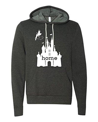 DisGear Women's Disney Is My Home. Hoodie (Medium, Dark Heather Grey)