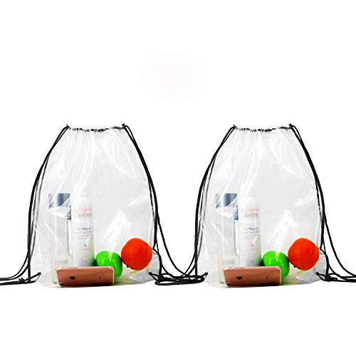 Clear-Stadium-Bag-Drawstring-Backpacks 2 Pack Waterproof Clear Bag Pack Drawstring Bags Backpacks for Football Games Sports -