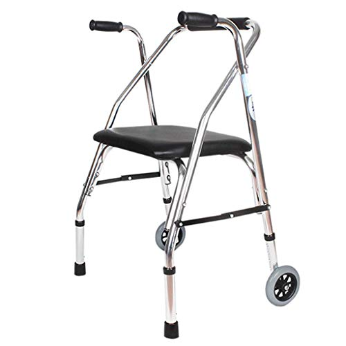 Folding Roller Walker with Seat Walking Frame Lightweight Aluminum Frame Lower Limb Trainer Standard Walker