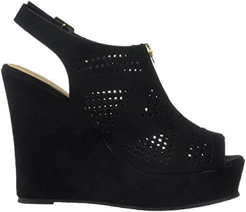 Qupid Slingback Toe Wedge Peep Suede Women's Black Heeled Sandal SSqr71tw