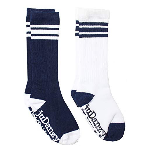 juDanzy knee high team color tube socks for toddler and youth boys and girls (2 Pack) (2-4 Years (Shoe Size 6C-9C) - With Anti-slip grip, Navy Blue)]()