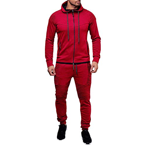 Hoshell_Men Tops Men Hooded Athletic Tracksuit Full Zip Casual Jogging Gym Sweat Suits Activewear (3XL, Red)