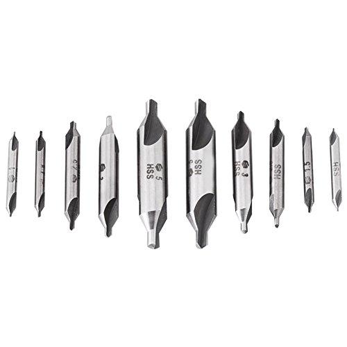 Zentrierbohrersatz, 10-tlg. HSS-Senkbohrersatz 1 mm/1,5 mm/2,5 mm/3 mm/5 mm, kombinierter Zentrierbohrersatz mit hoher Härte und 60 ° Fräswinkel zum Herstellen von konischen Löchern