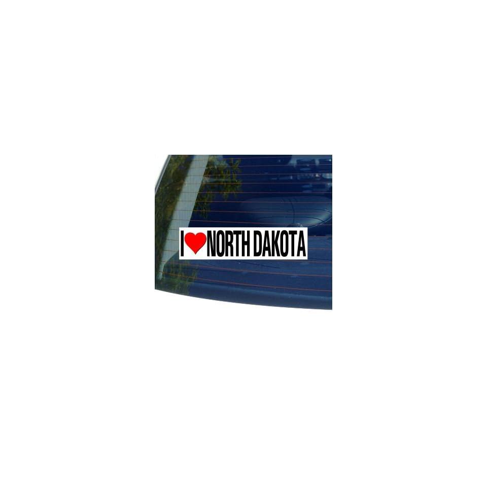 I Love Heart NORTH DAKOTA   Window Bumper Sticker