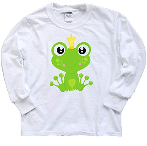 - inktastic - Frog Prince, Youth Long Sleeve T-Shirt Youth Medium White 35a7d