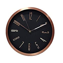 Kinger_Home 12 Inch Universal Silent Wall Clock Non-Ticking Mute Easy to Read Fashion Quartz Metal Frame Glass Cover Battery Operated For Home/Kitchen/Living Room/Office/School((Black & Rose Gold))