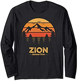 Zion National Park  Retro Vintage Souvenir Gift Long Sleeve T-shirt | Size S - 5XL