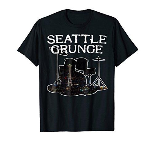 Seattle Grunge Retro Rock Drums Space Needle T-Shirt