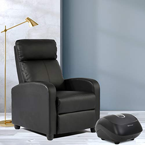 - Recliner Chair Single Sofa Leather Chaise Counch Padded Seat Living Room Sofa Recliner with Foot Massage Home Theater Seating
