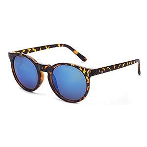 Outray Vintage Round Horned Rim Frame Retro Sunglasses 2201c2 Tortoise Mirror Blue