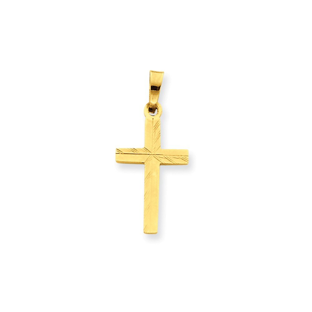 Mia Diamonds 14k Yellow Gold Diamond-cut Small Hollow Cross Pendant