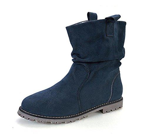 stivali piatti NSXZ corta caldi grandi stivali Ms dimensioni 41 stivali Martin piega 43 di rotonda BLUEPLUSCOTTON scarpe gFOXO5q