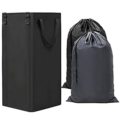 """WOWLIVE Large Laundry Hamper Collapsible with 2 Removable Laundry Bags Tall Laundry Basket Foldable Dirty Clothes Hamper with 2 Handles Rectangular Washing Bin Dorm Room Storage for College(Black) - 【LARGE CAPACITY】The dirty clothes hamper is 34cm/13.4"""" ×34cm/13.4""""×64cm/25.2"""" (L x W x H), and its capacity is as much as 74L,which is larger than other hampers in the market. The laundry basket definitely can store all your family's dirty clothes in one extra-large, convenient and space-saving laundry hamper that offers you 40% more storage space than other laundry baskets. When it comes to storing and organizing your laundry, size does matter. 【STAND ALONE AND MORE DURABLE!】The laundry basket can stand more stable with 4 fiber rods support.The large standing laundry hamper's rod slots are designed outside, and it has secure locking on the top of slots to prevent the rods from pulling out. Thicken 600D Oxford fabric with high-density, provides long-lasting strength and reliable performance, more durable than non-woven fabric or canvas hamper sorter. 【EASY CARRYING SAVE YOUR ENERGY】The laundry hamper has 2 removable laundry bags and 2 handles. It's very convenient to transport your dirty clothes to your washing room.You can carry only one of the bags to the laundry room,especially when they are on the different floor,and 2 bags ensure easy replacement. - laundry-room, hampers-baskets, entryway-laundry-room - 41daH6zljVL. SS400  -"""
