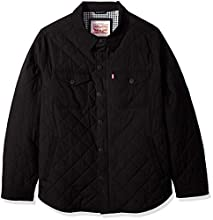 Levi's Men's Big and Tall Stretch Cotton Diamond Quilted Shirt Jacket, Black, XLT