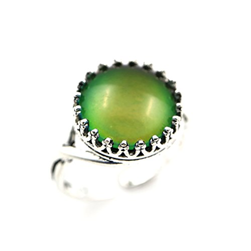 Vintage Style Round Cabochon Antiqued Silver Crown Women Color Change Mood Ring Adjustable Emotion Ring (Antiqued Silver) ()