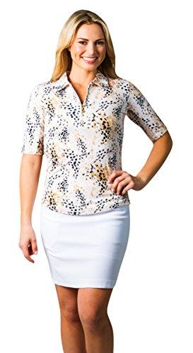 SanSoleil Womens SolCool UV 50 Print Short Sleeve Polo Wildcat Brown Small Cat Womens Golf Shirt