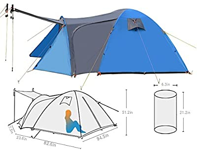 Wnnideo 4-6 Person Waterproof Family Camping Tent Portable Dome Easy Set Up Tent Shelter with Bedroom and Screen Room,Great for Camping,Picnic,Hiking,Fishing,Outdoor Use