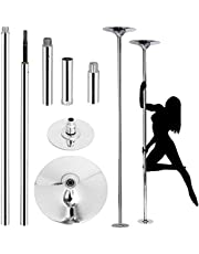 YAHEETECH Professional Stripper Pole Spinning Static Dancing Pole Portable Removable 45mm Dance Pole Kit for Exercise Club Party Pub Home w/Tools