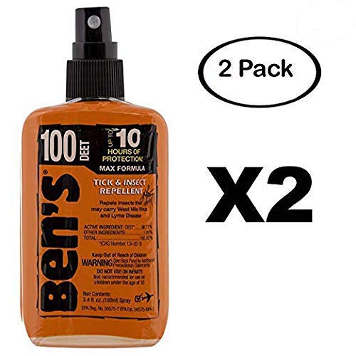Ben's 100% Deet Tick Mosquito Insect & Bug Repellent 3.4 Ounce Oz Pump Spray (2 Pack) ()