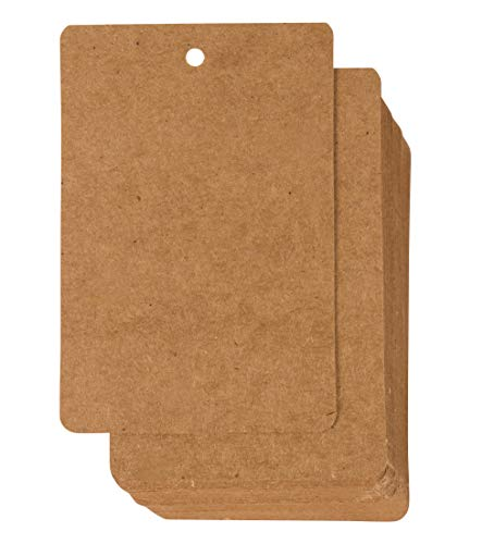 Gift Tags - 200-Pack Kraft Paper Tags, Merchandise Tags, Writable Tags, Craft Hang Labels, Name Price Size Labels, for Wedding, Birthday, Holiday, Party Favor, Kraft Brown, 2.375 x 3.5 inches