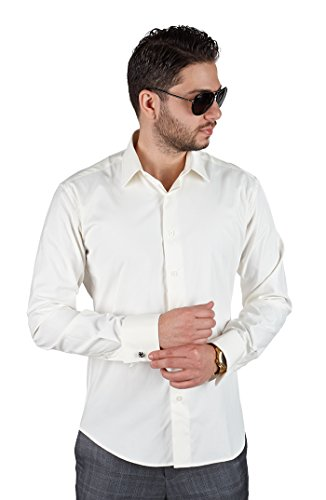 Slim Tailored Fit Men's French Cuff Dress Shirt Spread Collar By Azar Man (Medium 15, Ivory / Off White)