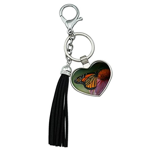 Graphics and More Monarch Butterfly and Coneflower Chrome Plated Metal Heart Leather Tassel Keychain - Monarch Metal Tags