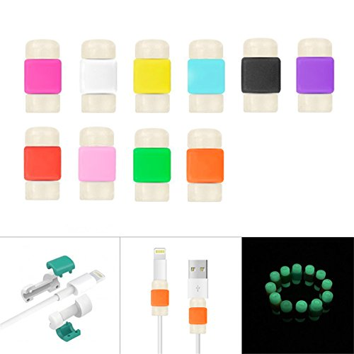 Pack of 10, Peres® Noctilucent Colorful Data Cable Saver Protector for Apple USB Lightning Cable Iphone Earphones Protector and Charging Cables for iphone / ipad , Glow in the Dark (20 X Combo)