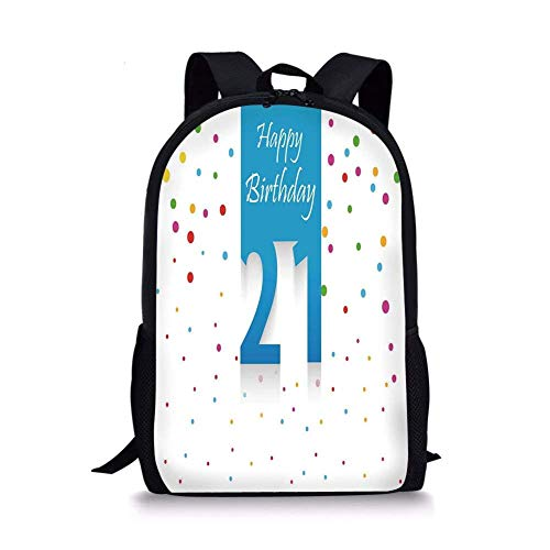 School Bags 21st Birthday Decorations,Party Festive Themed Happy Birthday Quote on Colorful Backdrop,Multicolor for Boys&Girls Mens Sport Daypack