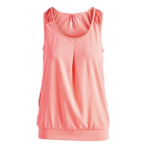 Blu Pocket - Zuma Blu Women's Active Tank Top with Pockets - Loose Flowy Shirt for Running, Biking and Cycling (Coral, Medium)