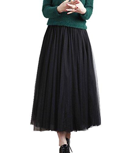 Gaze Taille en Tutu Jupe 2017 Dentelle Tulle Femmes Longue Haute Plisse Noir Brawdress w6Zaqzp