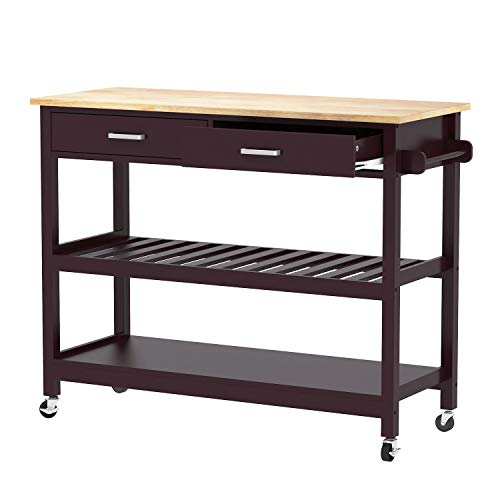 Clevr Rolling Kitchen Cart Island on Wheels Trolley, Cabinet w/Drawer, Shelves Storage Shelf, 100% Natural Rubberwood Top, Walnut Colored by Clevr (Image #1)