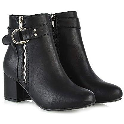 ESSEX GLAM Womens Ankle Boots Block Low Mid Heel Ladies Zip Buckle Strap Smart Booties Shoes 3