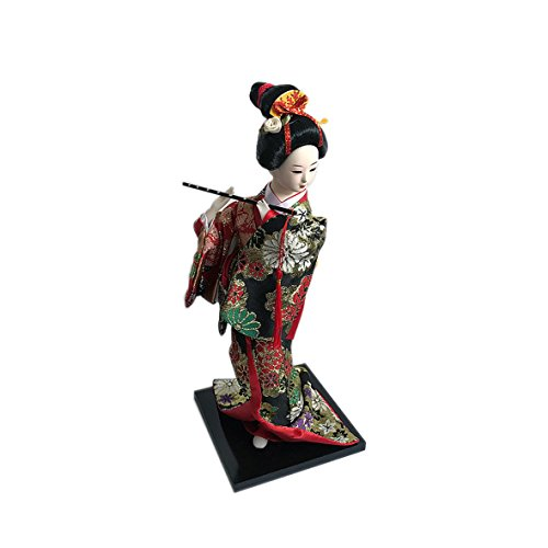 """JG.Betty 12"""" 30cm Japanese Folk Kimono Geisha Doll Maiko Doll puppet stand on Base for Decorative Home and Hotel Gifts Doll (12 Inch, Doll Black JD08) by JG.Betty"""