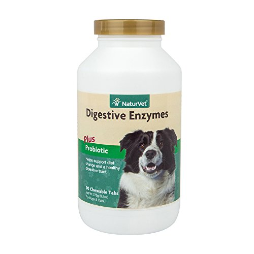 NaturVet - Digestive Enzymes Plus Probiotics - Helps Support Diet Change & A Healthy Digestive Tract - for Dogs & Cats - 90 Chewable Tablets