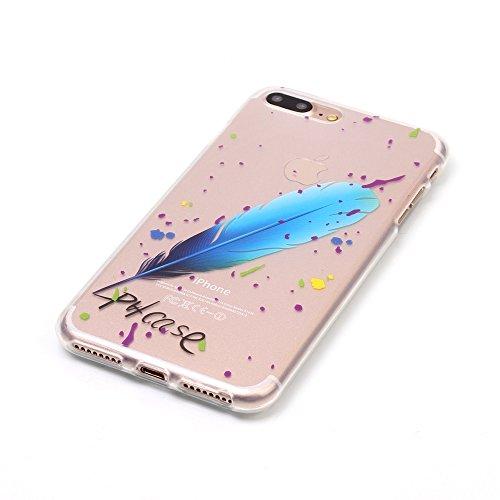 Voguecase® für Apple iPhone 7 Plus 5.5 hülle, Schutzhülle / Case / Cover / Hülle / TPU Gel Skin (Blau Feder 01) + Gratis Universal Eingabestift
