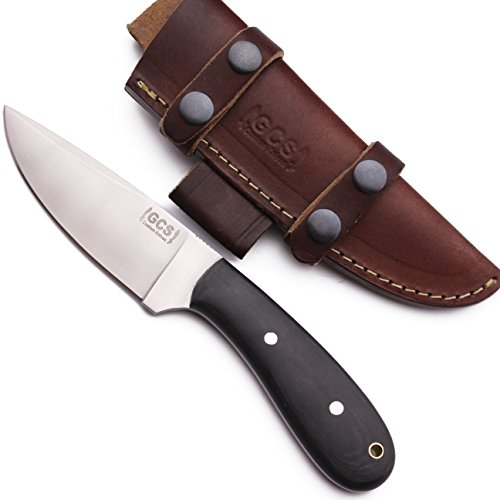 GCS Handmade D2 Tool Black Micarta Bushcraft Hunting Skinning Knife Buffalo Hide Sheath (Buffalo Chopper)